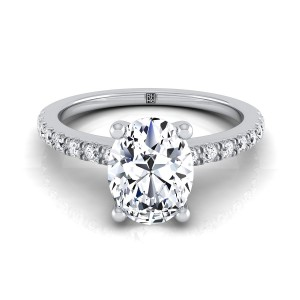 Classic Petite Split Prong Oval Diamond Engagement Ring In 14k White Gold (1/5 Ct.tw.)