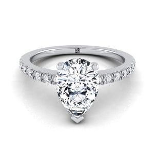 Classic Petite Split Prong Pear Shape Diamond Engagement Ring In 14k White Gold (1/5 Ct.tw.)