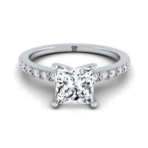 Classic Petite Split Prong Princess Cut Diamond Engagement Ring In 14k White Gold (1/5 Ct.tw.)