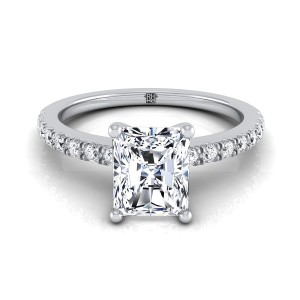 Classic Petite Split Prong Radiant Cut Diamond Engagement Ring In 14k White Gold (1/5 Ct.tw.)