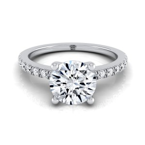 Classic Petite Split Prong  Diamond Engagement Ring In 14k White Gold (1/5 Ct.tw.)