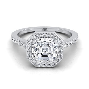 Asscher Cut Diamond Halo Engagement Ring With Pave Shank In 14k White Gold (1/3 Ct.tw.)