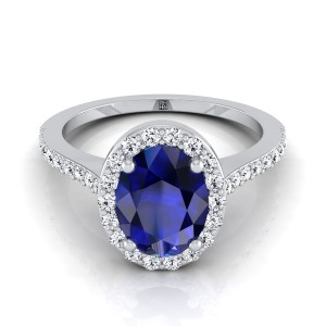 Oval Sapphire And Diamond Halo Engagement Ring With  Pave Shank In 14k White Gold (1/3 Ct.tw.)