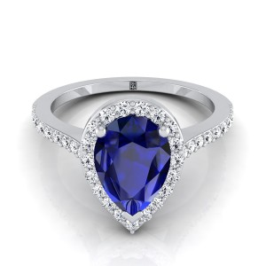 Pear Shape Sapphire And Diamond Halo Engagement Ring With  Pave Shank In 14k White Gold (1/3 Ct.tw.)
