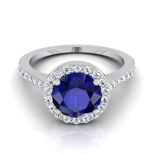 Round Sapphire And Diamond Halo Engagement Ring With  Pave Shank In 14k White Gold (1/3 Ct.tw.)