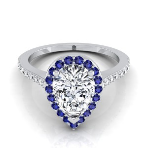 Pear Shape  Diamond Engagement Ring With Sapphire-accented Halo And Pave Shank In 14k White Gold (1/6 Ct.tw.)
