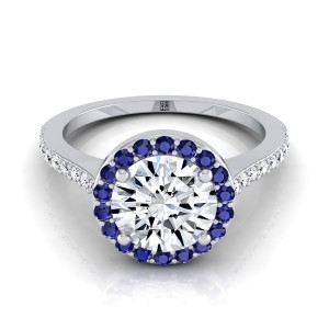 Diamond Engagement Ring With Sapphire-accented Halo And Pave Shank In 14k White Gold (1/6 Ct.tw.)