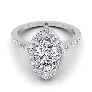 Marquise Diamond Halo Engagement Ring With Pave Shank In 14k White Gold (1/3 Ct.tw.)