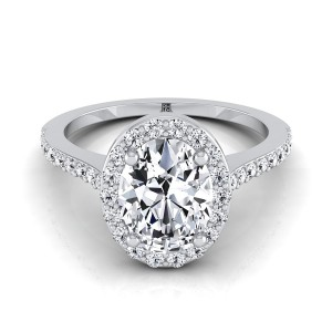 Oval Diamond Halo Engagement Ring With Pave Shank In 14k White Gold (1/3 Ct.tw.)