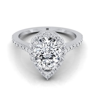 Pear Shape Diamond Halo Engagement Ring With Pave Shank In 14k White Gold (1/3 Ct.tw.)