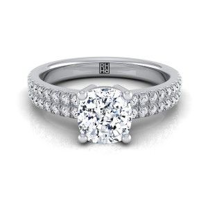 Cushion Cut Diamond Double Row Engagement Ring With Micro U Set Pave In 14k White Gold (1/4 Ct.tw.)
