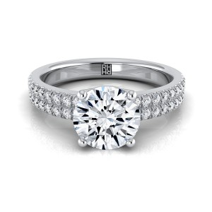 Diamond Double Row Engagement Ring With Micro U Set Pave In 14k White Gold (1/4 Ct.tw.)