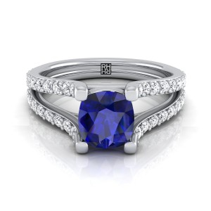 Cushion Cut Sapphire Engagement Ring With Split Pave Shank In 14k White Gold (1/2 Ct.tw.)