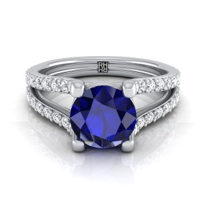 Round Sapphire Engagement Ring With Split Pave Shank In 14k White Gold (1/2 Ct.tw.)