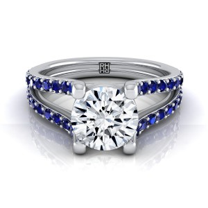 Diamond Engagement Ring With Sapphire-accented Split Shank In 14k White Gold
