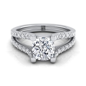 Cushion Cut Diamond Engagement Ring With Split Pave Shank In 14k White Gold (1/2 Ct.tw.)