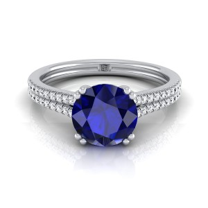 Sapphire Cushion Cut  2 Row Diamond Engagement Ring With A Double Prong Cathedral Setting In 14k White Gold (1/5 Ct.tw.)