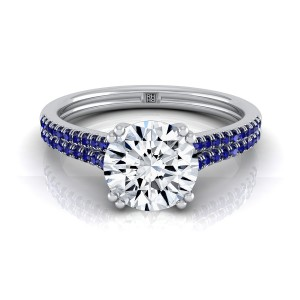 Diamond Engagement Ring With 2 Row Sapphire Shank In 14k White Gold