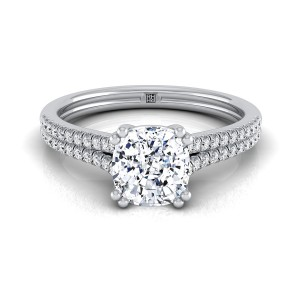 Cushion Cut Diamond 2 Row Engagement Ring With A Double Prong Cathedral Setting In 14k White Gold (1/5 Ct.tw.)