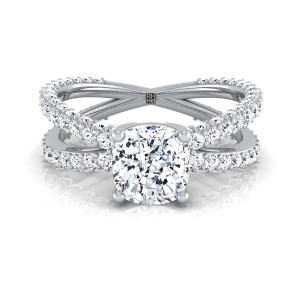 Cushion Cut Diamond Engagement Ring With Crossover Pave Shank In Platinum  (1- 1/4 Ct.wt.)