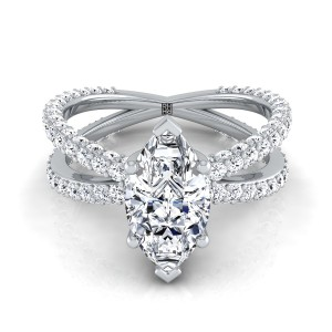 Marquise Diamond Engagement Ring With Crossover Pave Shank In 14k White Gold  (1- 1/4 Ct.wt.)