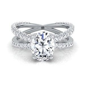 Oval  Diamond Engagement Ring With Crossover Pave Shank In 14k White Gold  (1- 1/4 Ct.wt.)
