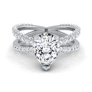 Pear Shape Diamond Engagement Ring With Crossover Pave Shank In 14k White Gold  (1- 1/4 Ct.wt.)