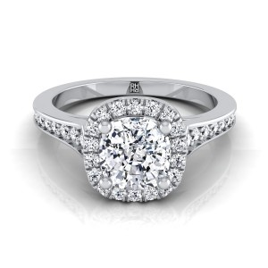 Cushion Cut Diamond Engagement Ring With Halo Frame And Pave Shank In 14k White Gold (1/3 Ct.tw.)