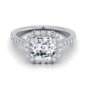 Asscher Cut Diamond Halo Engagement Ring With Petite Pave Shank In 14k White Gold (3/8 Ct.tw.)