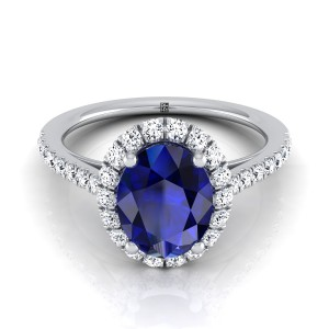 Sapphire Oval Center Engagement Ring With Diamond Halo And Petite Pave Shank In 14k White Gold (3/8 Ct.tw.)