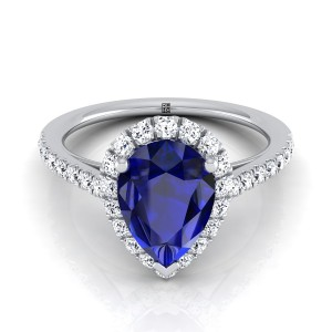 Sapphire Pear Shape Center Engagement Ring With Diamond Halo And Petite Pave Shank In 14k White Gold (3/8 Ct.tw.)