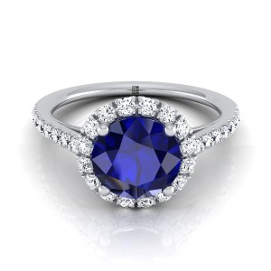 Sapphire Round Center Engagement Ring With Diamond Halo And Petite Pave Shank In 14k White Gold (3/8 Ct.tw.)