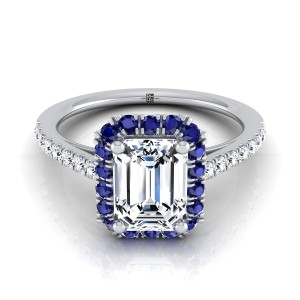 Emerald Cut Diamond Engagement Ring With Sapphire-accented Halo In 14k White Gold (1/5 Ct.tw.)