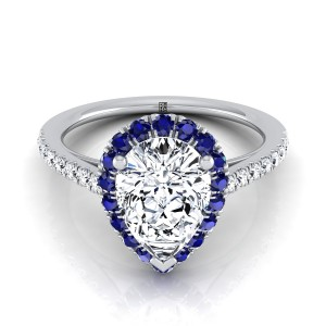 Pear Shape Diamond Engagement Ring With Sapphire-accented Halo In 14k White Gold (1/5 Ct.tw.)