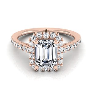 Emerald Cut Diamond Halo Engagement Ring With Petite Pave Shank In 14k Rose Gold (3/8 Ct.tw.)