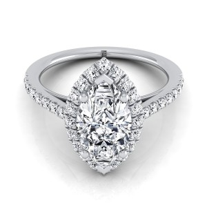 Marquise Diamond Halo Engagement Ring With Petite Pave Shank In 14k White Gold (3/8 Ct.tw.)