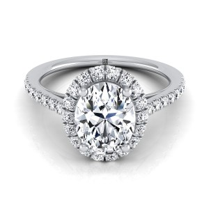 Oval Diamond Halo Engagement Ring With Petite Pave Shank In 14k White Gold (3/8 Ct.tw.)