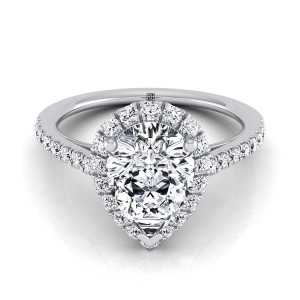 Pear Shape Diamond Halo Engagement Ring With Petite Pave Shank In 14k White Gold (3/8 Ct.tw.)