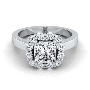 Princess Cut Diamond Halo Engagement Ring In 14k White Gold (3/8 Ct.tw.)