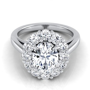 Oval Diamond Prong Set Halo Engagement Ring In 14k White Gold (4/5 Ct.tw.)