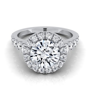 Diamond Halo Engagement Ring With A Graduated Shank In 14k White Gold (2/3 Ct.tw.)