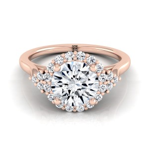 Diamond Halo Engagement Ring With Scroll Gallery In 14k Rose Gold (1/4 Ct.tw.)