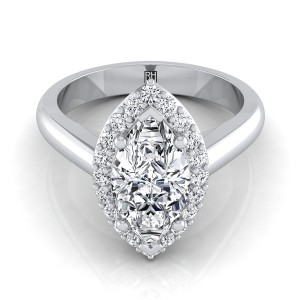 Marquise Diamond Halo Engagement Ring In 14k White Gold (1/4 Ct.tw.)