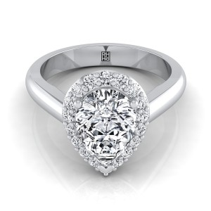 Pear Shape Diamond Halo Engagement Ring In 14k White Gold (1/4 Ct.tw.)