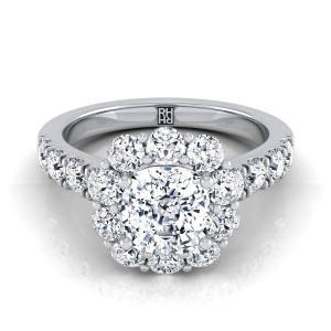 Cushion Cut Diamond Halo Engagement Ring With Pave Shank In 14k White Gold (1-1/8 Ct.tw.)