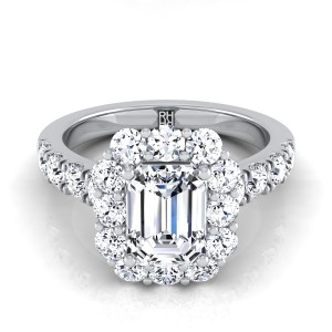 Emerald Cut Diamond Halo Engagement Ring With Pave Shank In 18k White Gold (1 1/10 Ct.tw.)