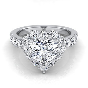 Heart Shape Diamond Halo Engagement Ring With Pave Shank In 14k White Gold (1 Ct.tw.)