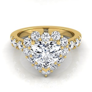 Heart Shape Diamond Halo Engagement Ring With Pave Shank In 14k Yellow Gold (1 Ct.tw.)