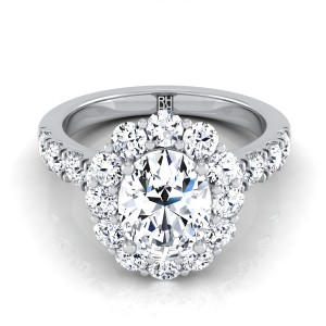 Oval Diamond Halo Engagement Ring With Pave Shank In 14k White Gold (1 1/10 Ct.tw.)