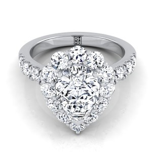 Pear Shape Diamond Halo Engagement Ring With Pave Shank In 14k White Gold (1 1/4 Ct.tw.)